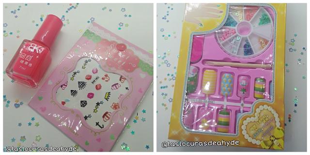 esmlate de uñas, pegatinas y uñas postizas de la happy cute bag