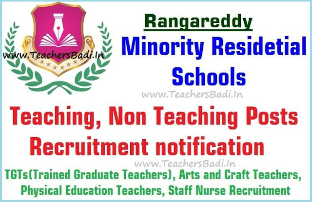 Teaching,Non Teaching posts,Rangareddy Minority Residential Schools