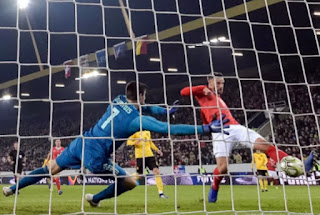 Switzerland thrashed Belgium 5-2 on Sunday evening to qualify for the European national league knockout stage in Basel.