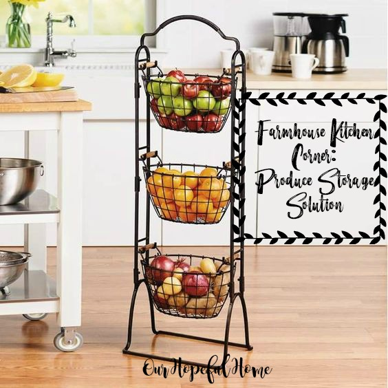 three tier farmhouse wire baskets produce kitchen storage