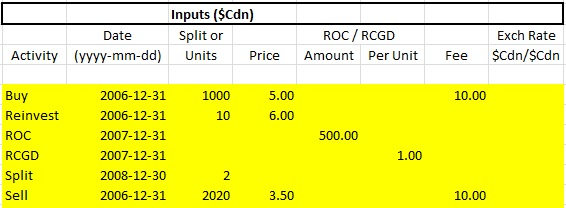 Spreadsheets and Financial Basics: Adjusted Cost Base Tracking