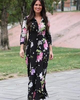 vestido largo negro con flores de moda juvenil
