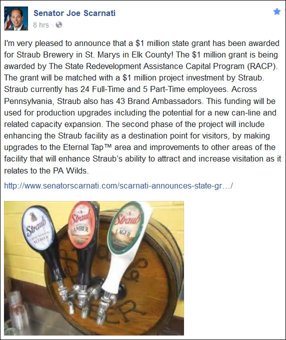 http://www.senatorscarnati.com/scarnati-announces-state-grant-for-straub-brewery/