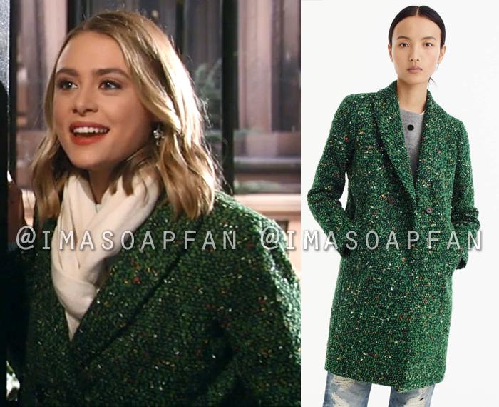 Kiki Jerome, Hayley Erin, Speckled Green Tweed Coat, General Hospital, GH