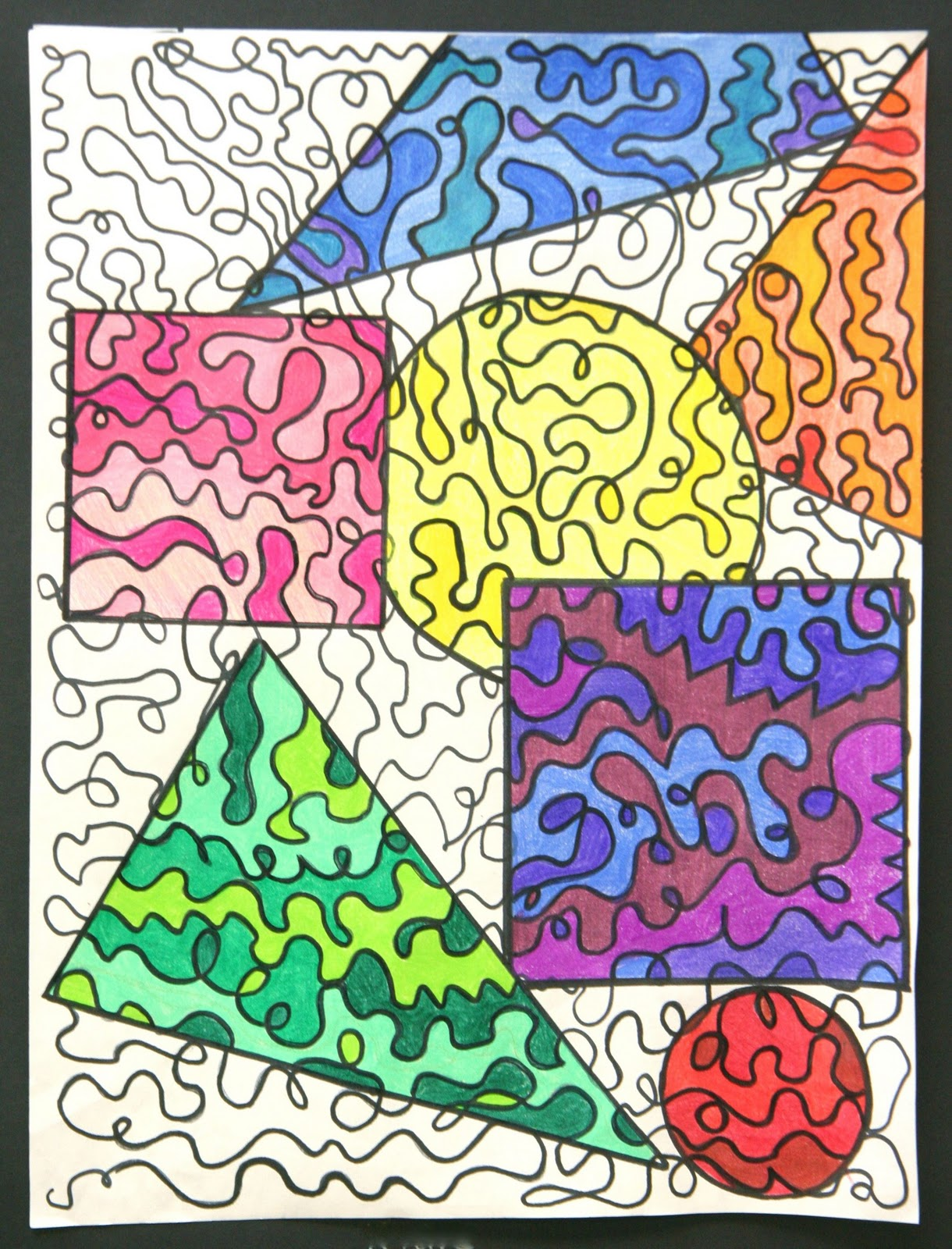 Next We Traced The Shapes Over Our Drawings And Colored In Each Shape With A Monochromatic Color Scheme Here Are Some Results