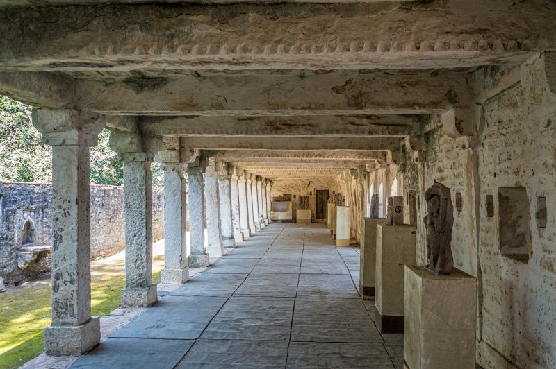 Corridor with ancient statues