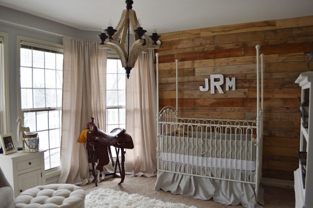 classy rustic baby nusery design ideas with white bedding set white tufted ottoman white rug