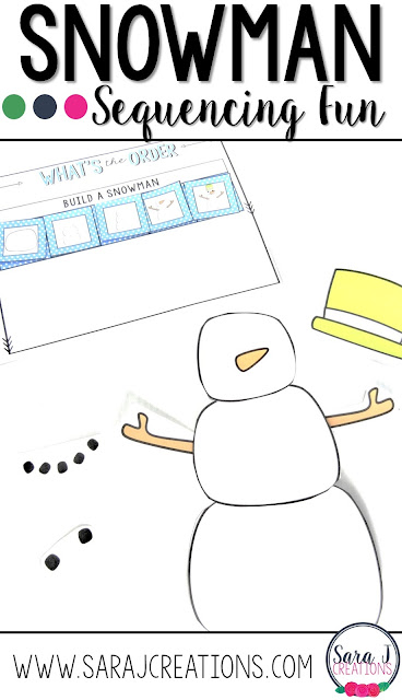 Free sequencing a snowman activity. Great practice for using transition words and practicing the steps to build a snowman. #preschool #kindergarten #firstgrade #winter #snow #sarajcreations