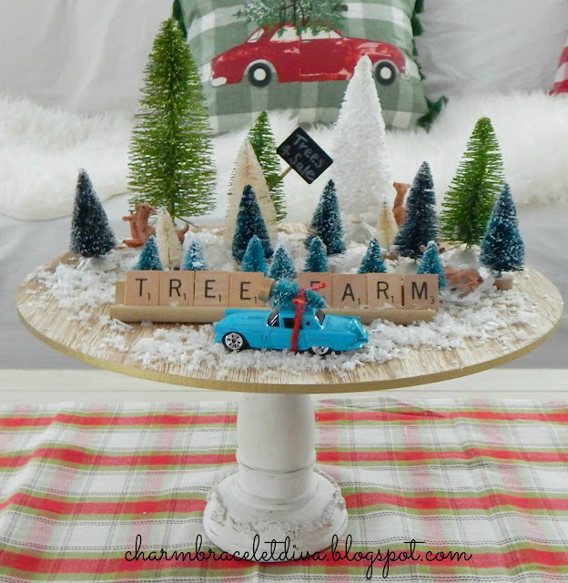 cake plate vignette bottle brush trees cars Christmas tree farm