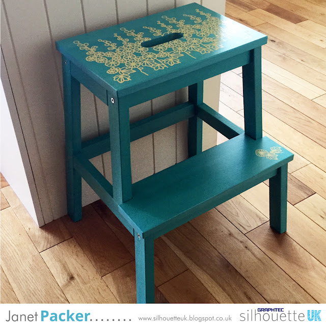 Decorating a wooden IKEA kitchen stool with heat transfer (HTV) or sign vinyl. By Janet Packer (Crafting Quine) on the Silhouette UK Blog.