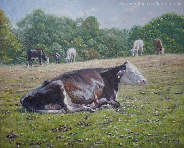 art of cow at rest and alsleep by artist Martin Davey