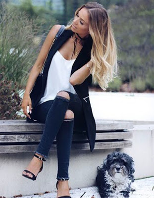 outfit con choker negra casual