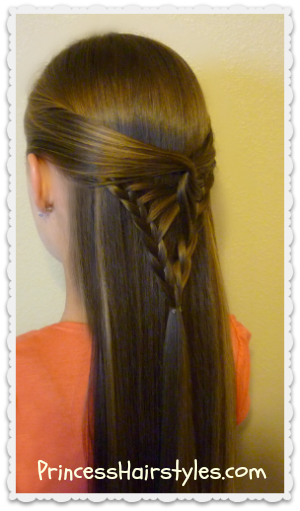 braided half up hairstyle, arrowhead braid tutorial
