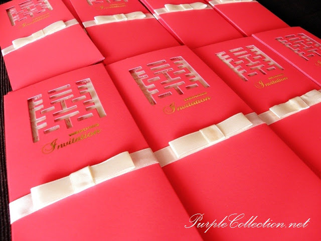 Double Happiness Chinese Wedding Card, Sliding Pocket, inlay sheet insert in the pocket, red matallic card, hot stamping font on front card, red, ribbon, red card, ribbon card, double happiness, double happiness card, chinese wedding card, wedding card, marriage, card