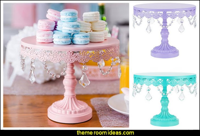 Cake Stand with Crystals, Round Metal Wedding Birthday Dessert Cupcake Pedestal Display
