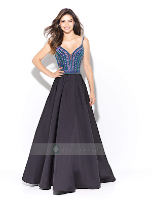 V-neck and V Back Spaghetti Straps Multicolored Beading Bodice Prom Dress