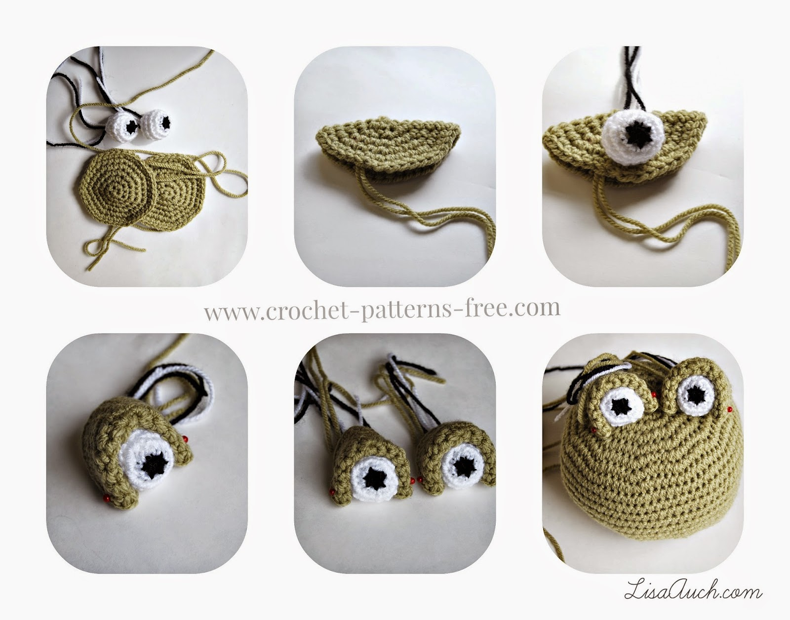 Amigurumi Crochet eyes.Free Easy Crochet Frog Pattern - LisaAuch free crochet patterns and Designs