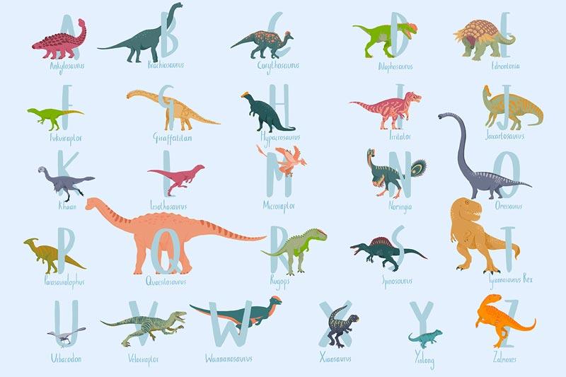 carta da parati dinosauri blu
