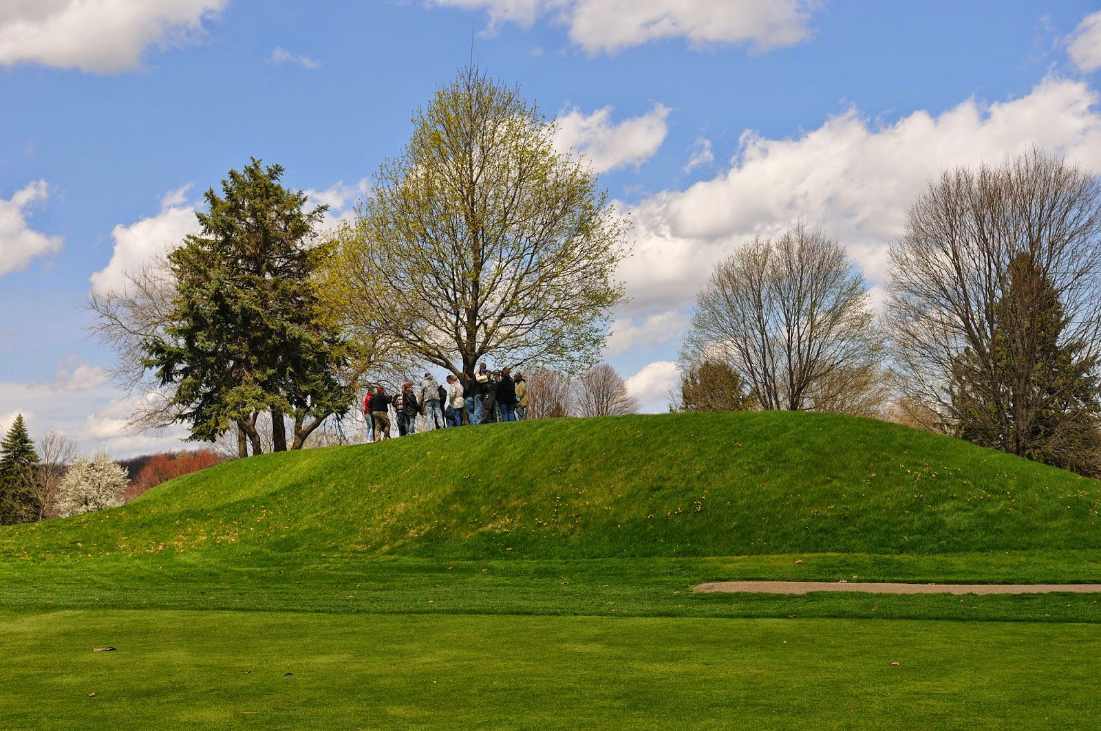 Tour group on top of Observatory Mound. Golf Free Day at the Octagon Earthworks April 17, 2014.