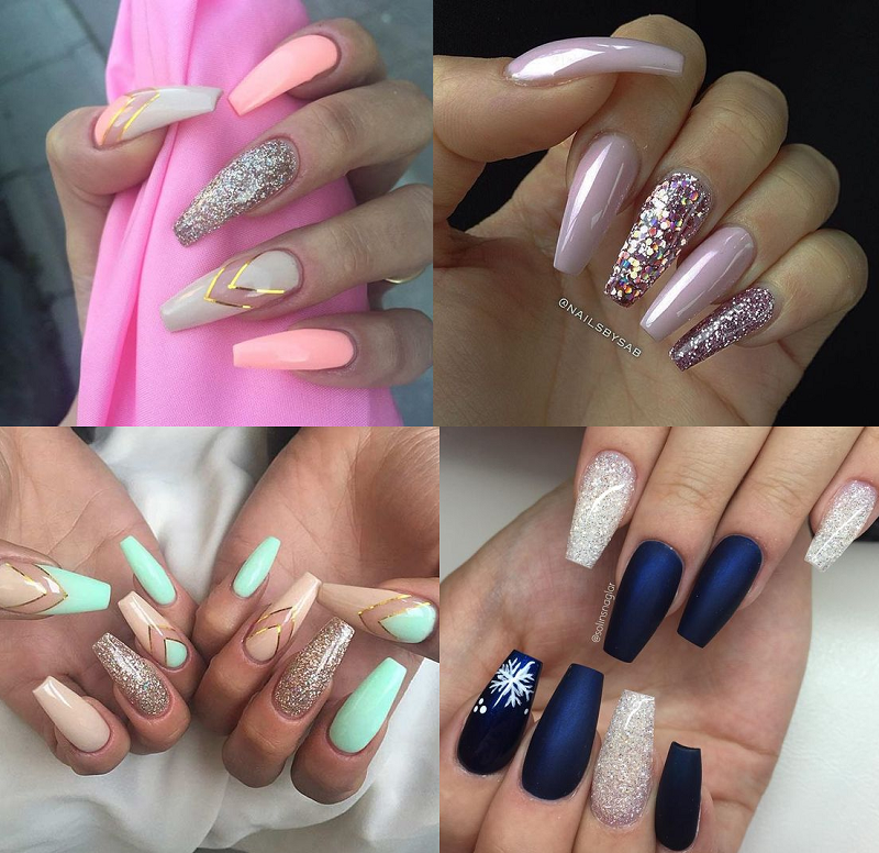 Coffin nails - The Beauty Nails Designs For Short And Long Nails Atsdeal