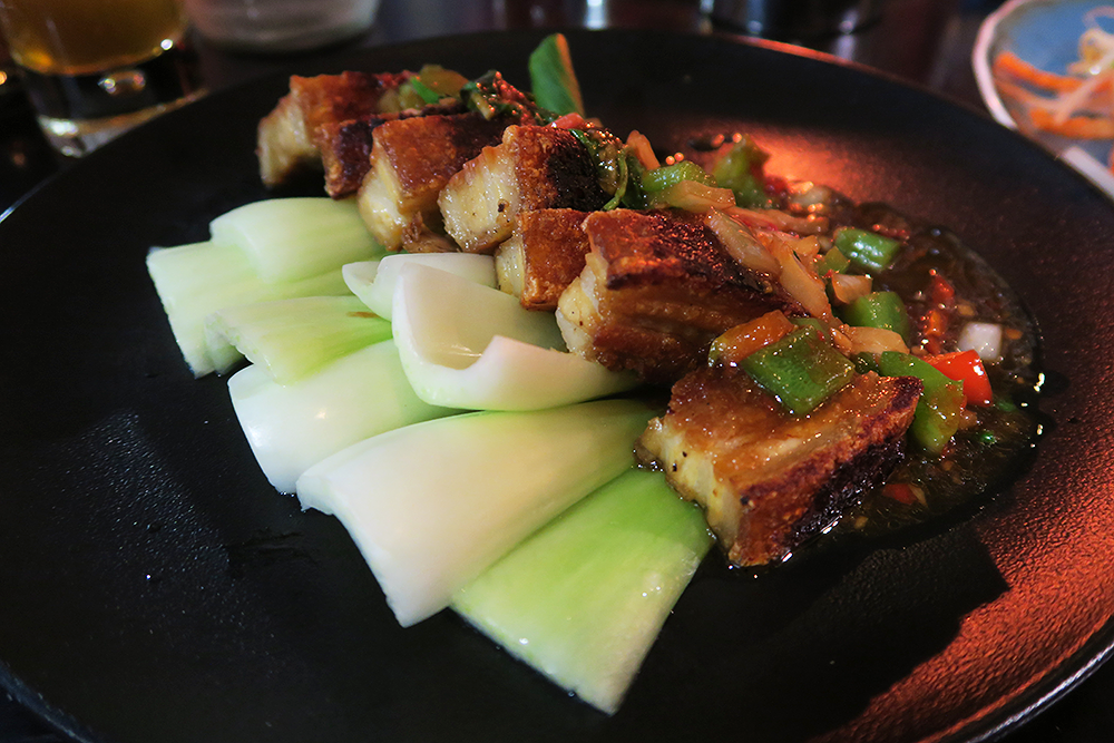 Stir fried crispy pork belly at Chaophraya Leeds