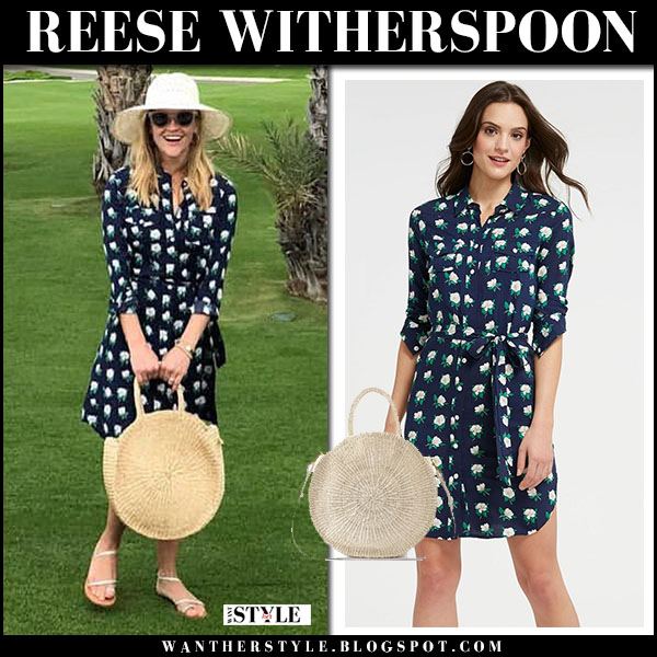 Reese Witherspoon in navy floral print dress draper james spring fashion march 3