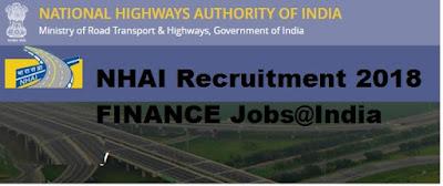 National Highways Authority of India NHAI Recruitment 2018 FINANCE Jobs@India