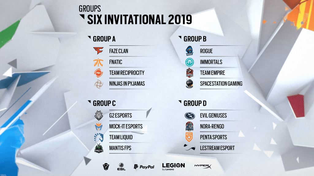 Six invitational 2019 groups