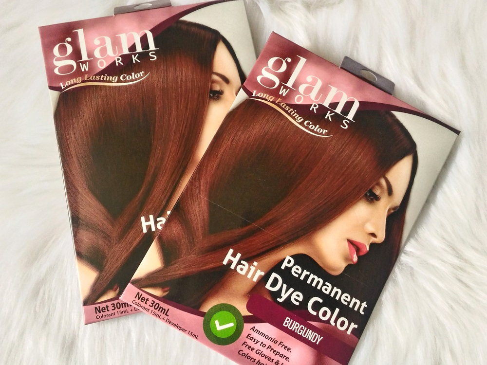 Glam Works Permanent hair dye color in Burgundy