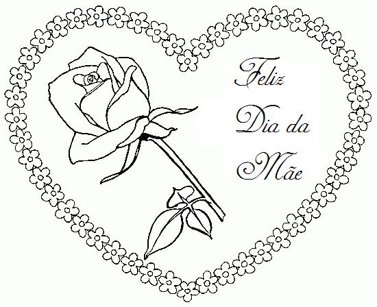 Desenho De Coracao Grande Para Imprimir: Baú Da Web: Cartão Dia Das Mães, Coração Para Imprimir Colorir