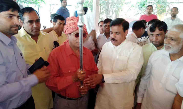 Legislator, Techchand Sharma took a dignified welcome to the newly elected Rajya Sabha MP