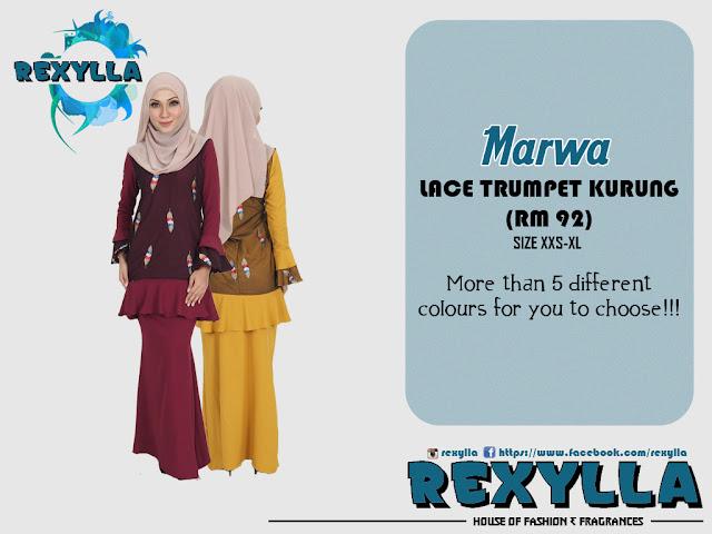 rexylla, baju kurung, lace kurung, trumpet kurung, modern kurung, marwa collection