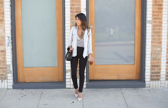 casual venice LA outfit, how to wear chambray shirt, how to wear high-waisted jeans