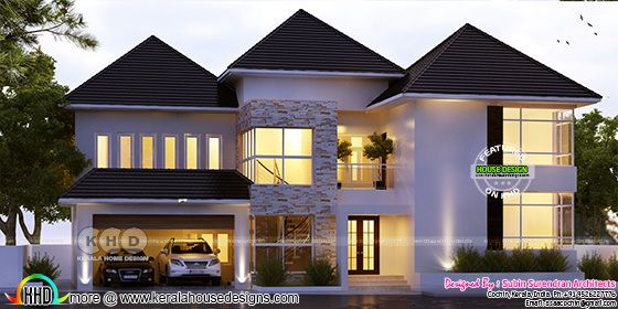 European touch sloping roof house architecture