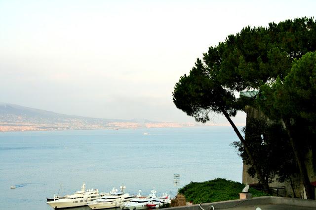 barche, mare, alberi, porto, montagne, cielo