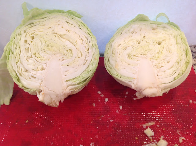 a head of cabbage cut in half