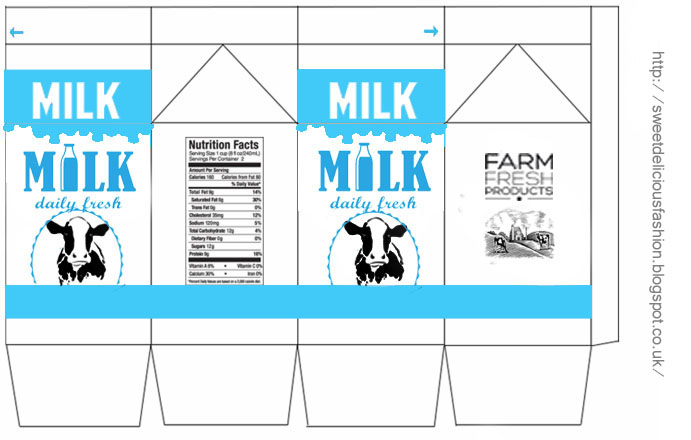 Miniature Milk Carton Fimo Polymer Clay Dairy Farm Cow Doll House Cooking Kitchen Drinking Food Template