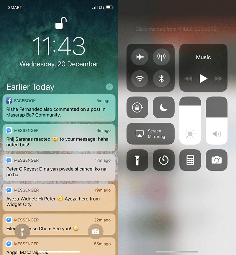 Notification and shortcut controls