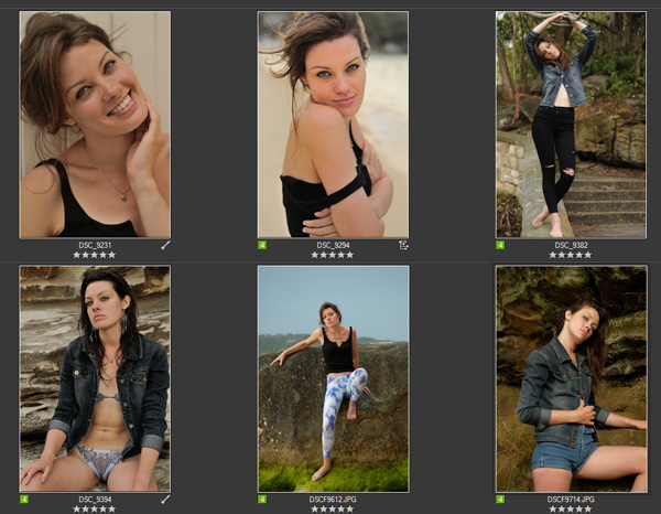 A selection of shots to be processed from a modelling portfolio photoshoot. Photographed in Sydney Australia by Kent Johnson.