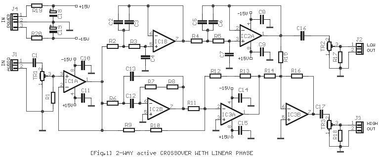 Rangkaian 2-Arah Crossover Aktif Amplifier
