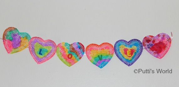 Valentine Bunting Garland Banner Kids Craft Painted Doily Hearts