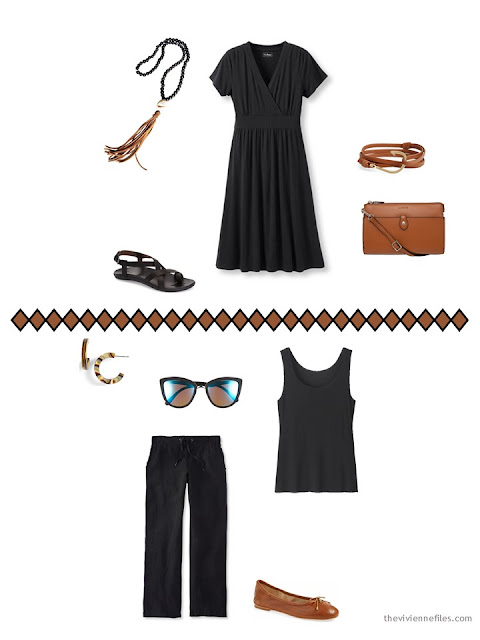 2 outfits from a 9-piece travel capsule wardrobe for warm weather in black, ivory and brown
