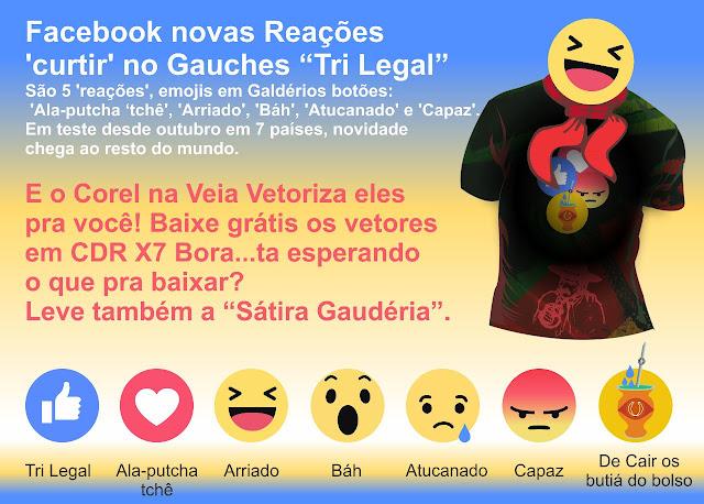 Versão Gaudéria dos Botões os Vetores ''reações'', emojis