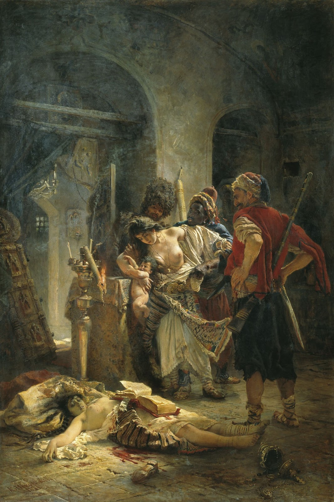 The Bulgarian martyresses by Konstantin Makovsky, a painting depicting the rape of Bulgarian women by the Bashi-bazouk during the April Uprising.