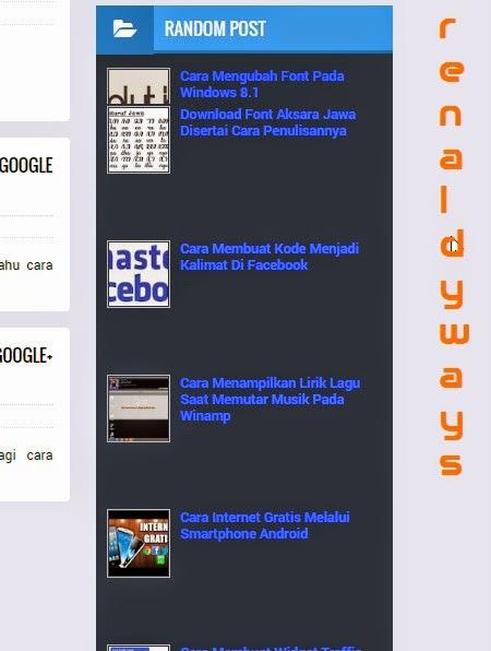 Cara Membuat Random Post Disertai Thumbnail / Gambar Dengan Efek Bergerak