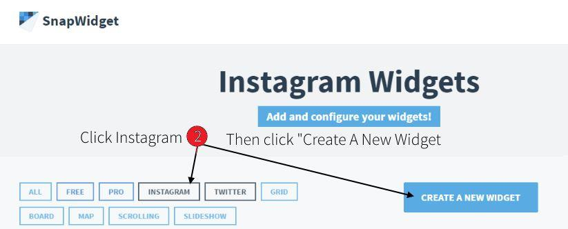 select instagram and click on create a new widget