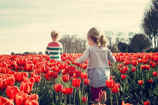 Niños al aire libre con el buen tiempo