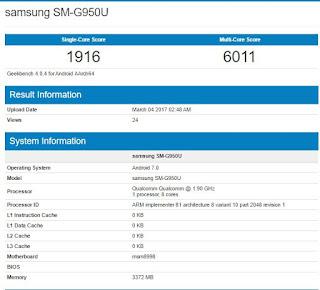 Samsung Galaxy S8 (SM-G950U) Leaked on Geekbench : 4GB RAM ,Snapdragon 835