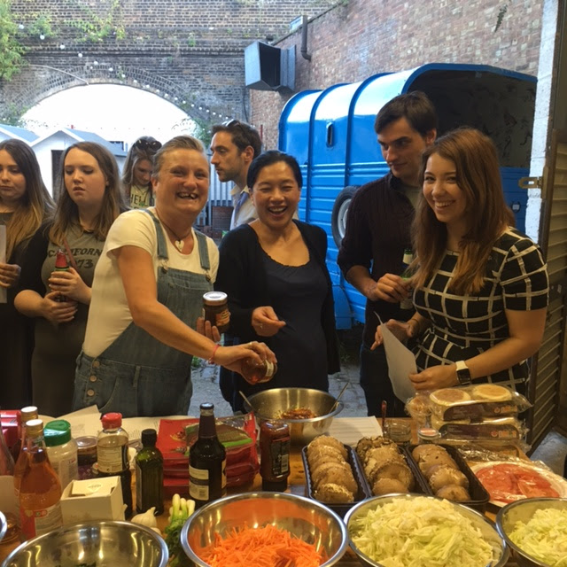 Food Bloggers cooking at Branston Event at London Barbecue School