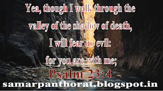 Yea, though I walk through the valley of the shadow of death, I will fear no evil: for you are with me;  Psalm 23:4